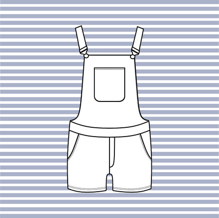 overalls: Womens denim short overalls drawn vector.