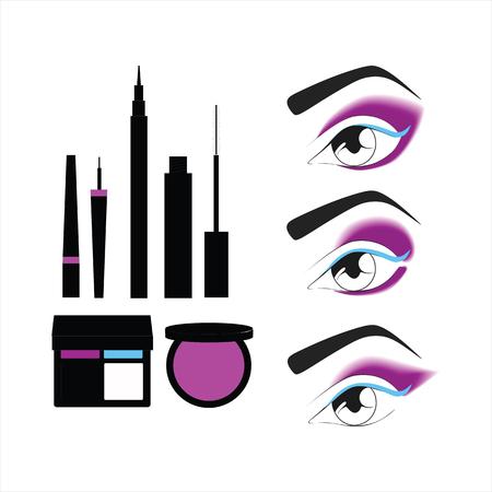 eye makeup: eye makeup. cosmetics. shadow. powder. mascara. eyeliner
