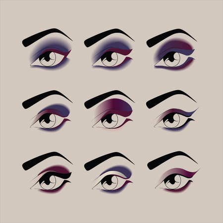 trucco per occhi. cosmetici. ombra. mascara. eyeliner