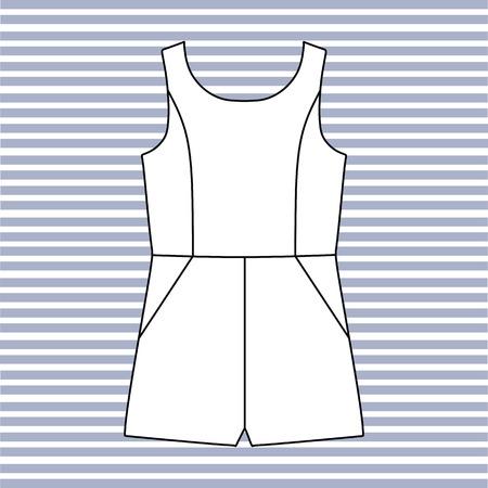 jumpsuit: short jumpsuit women drawn vector