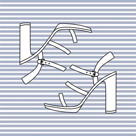 footwear: sandals with high heels. womens summer footwear Illustration