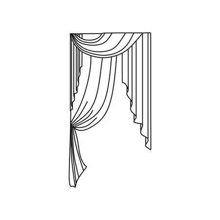 draped: window decoration. curtains. interior textiles. Illustration