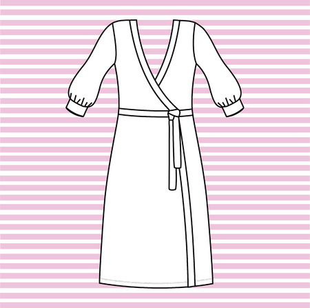 bathrobe: gown female home. bathrobe drawn vector.