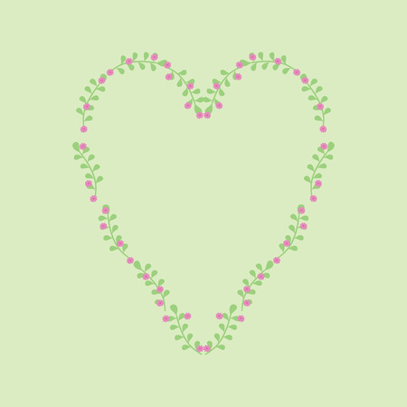 laid: Heart laid out from flowers painted vector.
