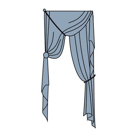 interior window: window decoration. curtains. interior textiles. Illustration