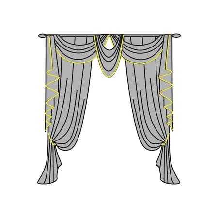 textiles: window decoration. curtains. interior textiles. Illustration