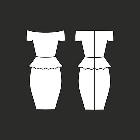 casual: Womens Casual dress sleeveless drawn vector