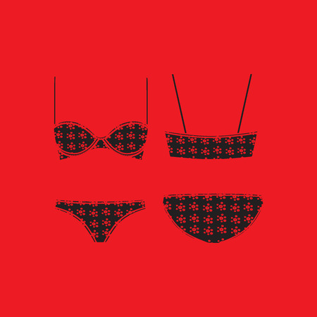 for women: panties and bra for women drawn vector . Lingerie. Underwear