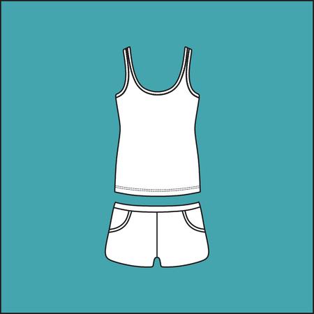 casual clothing: top and shorts. shirt . Womens summer casual clothing set .