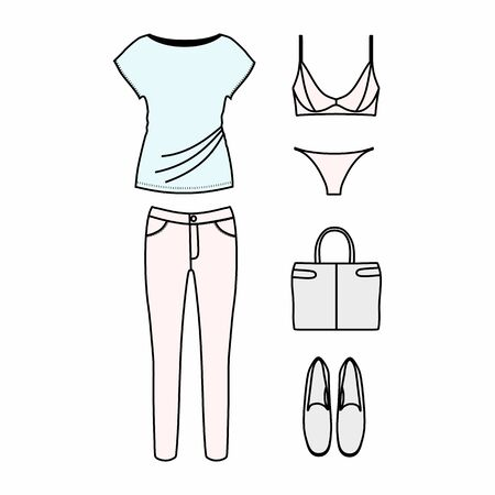 autumn woman: set of womens clothes drawn in the vector Illustration
