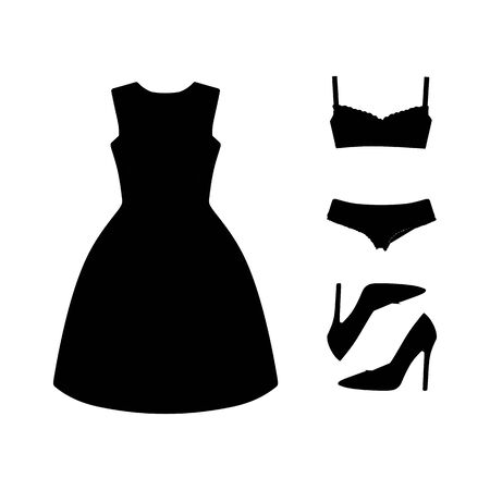 set of womens clothes drawn in the vector Illustration