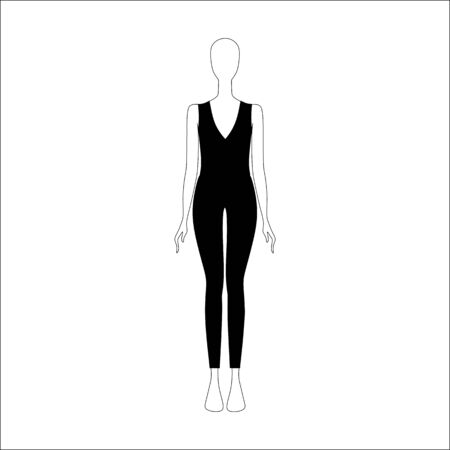 womens: womens clothing. top and trousers drawn vector