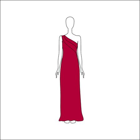 womens: Dress drawn vector. womens clothing.