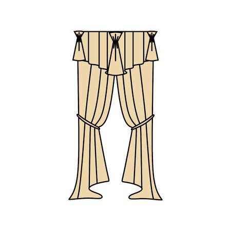 silhouette classic  curtain isolated. Cozy interior elements collection.
