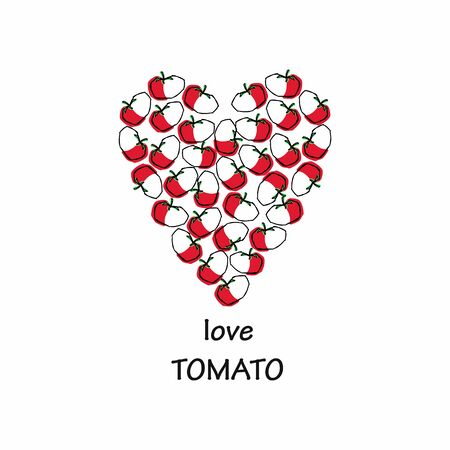 laid: Heart laid out from tomatoes. inscription love. autumn vegetables. tomatoes sketch