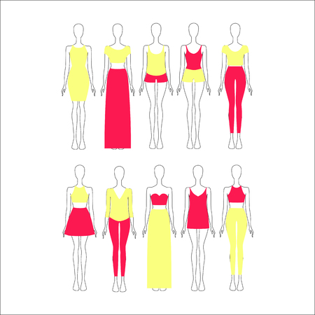 fall fashion: set of womens clothes drawn in the vector Illustration