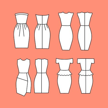 womens: Womens Clothing. Dress Womens Casual drawn vector