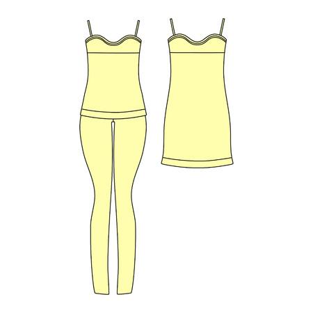shorts: clothes. Womens homewear. pajamas jersey. shorts and top. Illustration