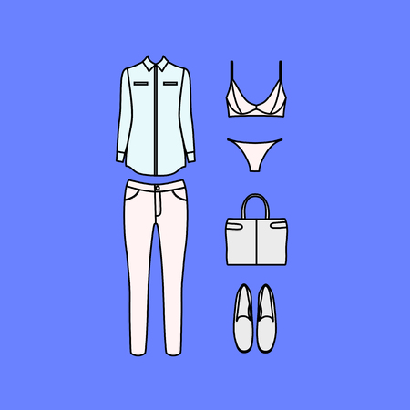 clutch: set of womens clothes drawn in the vector Illustration