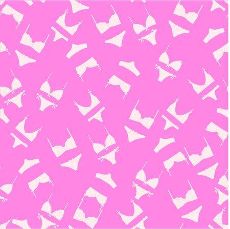 bra and panties: print with womens underwear. bra panties. linen drawn vector. Lingerie