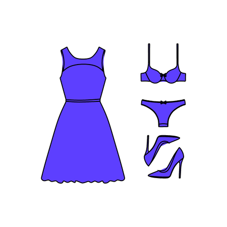 clutch bag: set of womens clothes drawn in the vector Illustration