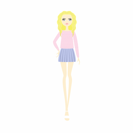top. skirt. casual wear. young girl in fashionable clothes. Illustration
