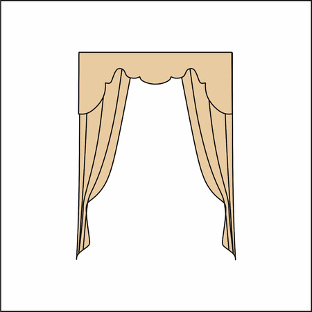 sipario chiuso: Window curtains.curtains Interior design sketch