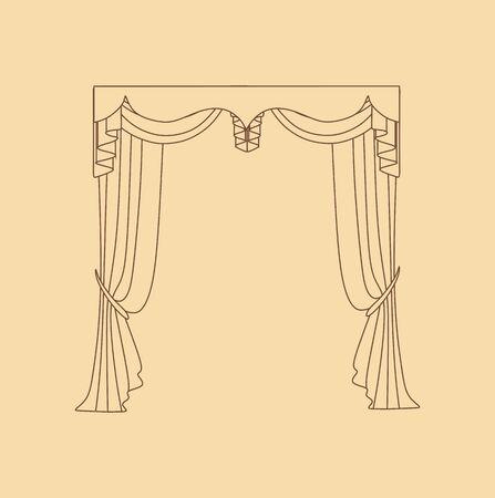 Décoration d'intérieur textiles croquis. rideaux. textiles d'intérieur.