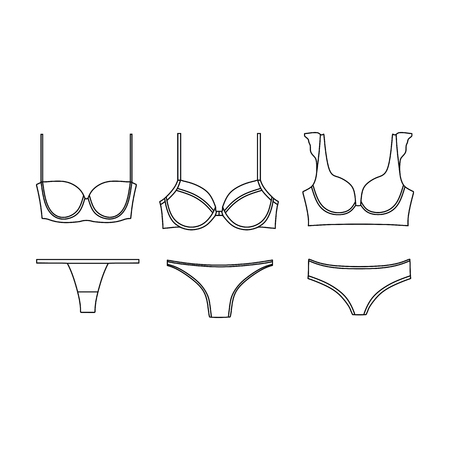 Lingerie. underwear. panties. bra. bustiers. drawn vector. Illustration