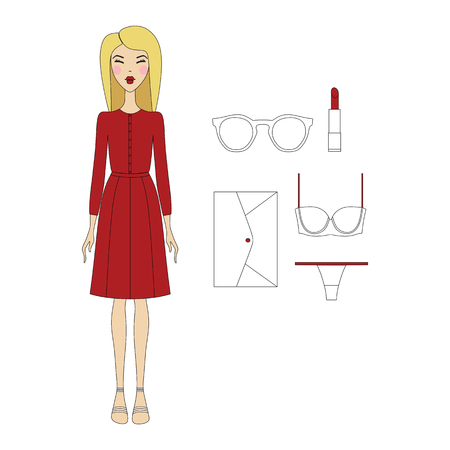 skinny: young woman in fashionable clothes. Girl in dress. casual wear. skirt. shoes. a bag. blouse. cosmetics. sunglasses. Lingerie. panties, bra