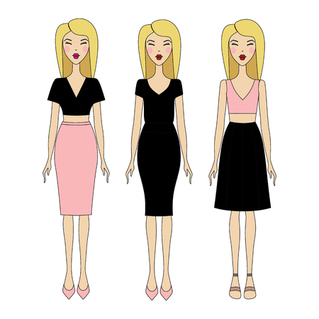 skinny: young woman in fashionable clothes.