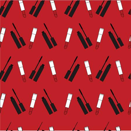 red lipstick: print of lipstick and mascara. red lipstick.