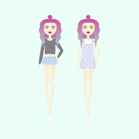 color hair: young woman with color hair and trendy clothes. girl in shorts and a sweater. overalls. top. casual wear