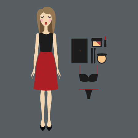 casual wear: young woman in fashionable clothes. Girl in dress. casual wear. skirt. shoes. a bag. blouse. cosmetics. Illustration