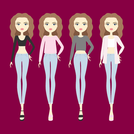 casual wear: young woman in fashionable clothes. girl in shorts and a sweater. blouse. sandals. footwear. top. jeans. cardigan casual wear