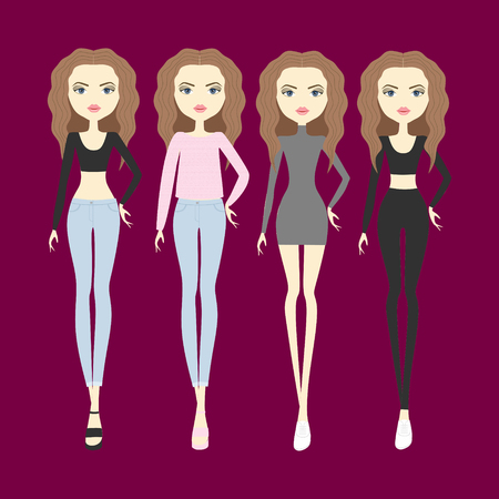 color hair: young woman with color hair and trendy clothes. Set vector fashion girls Illustration