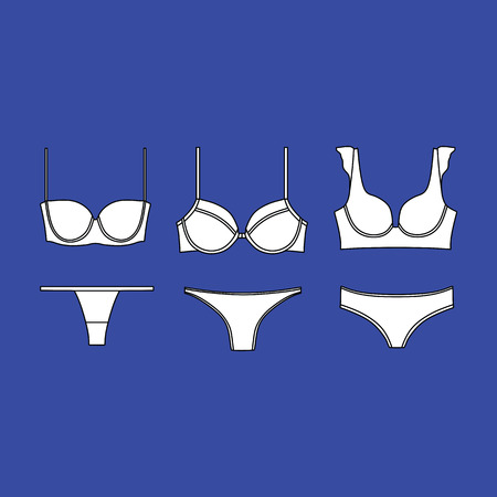 Lingerie. underwear. panties. bra. bustiers. drawn vector. Illustration