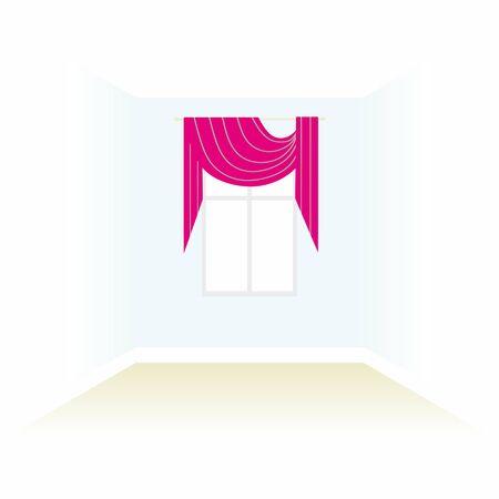 home theater: box decorated curtains. interior. floor ceiling. window. interior decoration textiles sketch