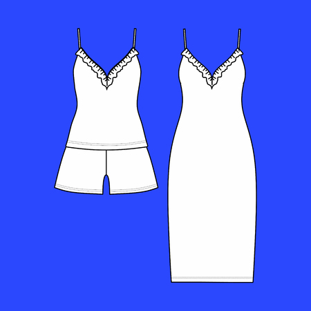 clothes. Womens homewear. pajamas jersey. shorts and top. Illustration