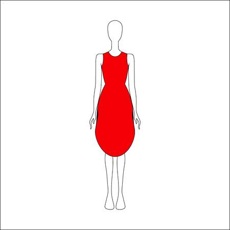 Dress drawn vector. womens clothing.