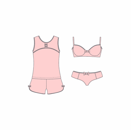 Set of lingerie, panties and bra, pajamas, home clothes. Illustration