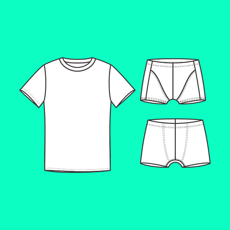 underwear. mens underwear T-shirt and shorts drawn vector