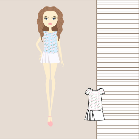 Girl in fashionable clothes, skirt, blouse, jumper, tank top illustration.