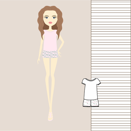 Girl in pants, jumper, tank top. Outerwear, womens clothing, casual outfit. girl in fashionable clothes illustration. Illustration