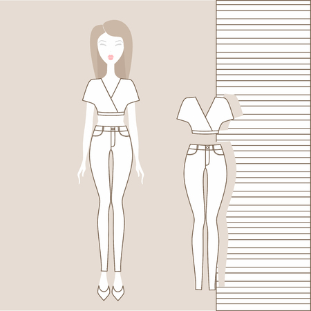 Girl in pants, jumper, tank top. Outerwear, women's clothing, casual outfit. Girl in fashionable clothes illustration.