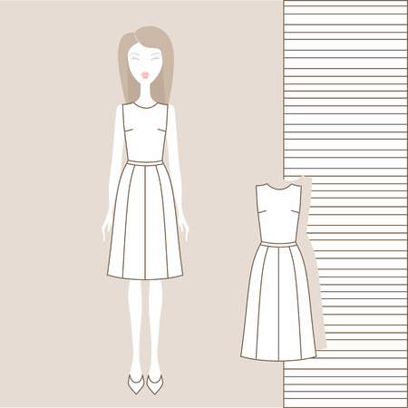 Girl  in fashionable clothes, skirt, blouse, jumper, tank top. Illustration