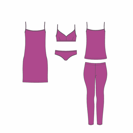 Panties and bra, pajamas, home clothes. Set of lingerie. Stock Illustratie