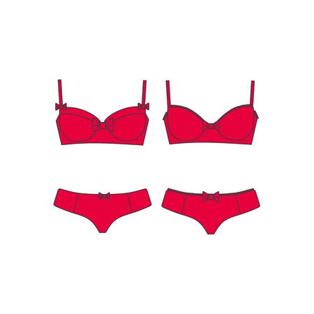 Set of lingerie, panties and bra, cotton underwear.
