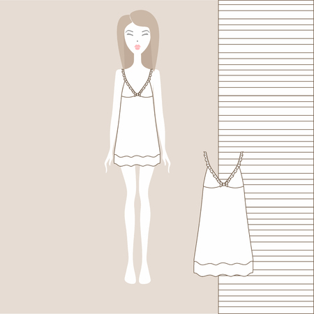 women's home dress or nightgown, nightie. Summer cotton dress made of jersey. Ilustração