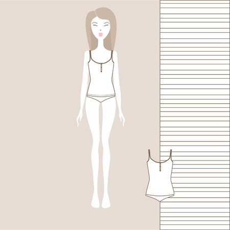 Female underwear set with panties and tank top. linen from cotton. Lingerie vector illustration.